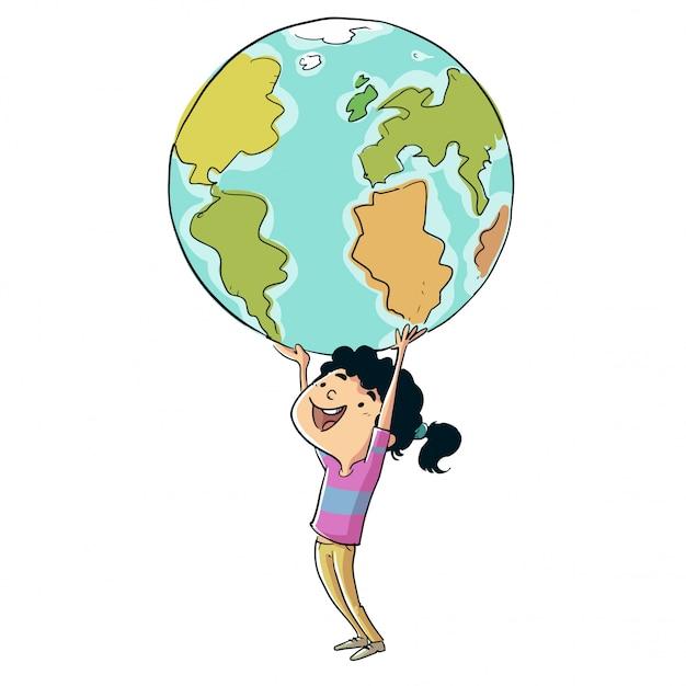 Kleines mädchen, welches die planet erde mit ihren händen anhält Premium Vektoren