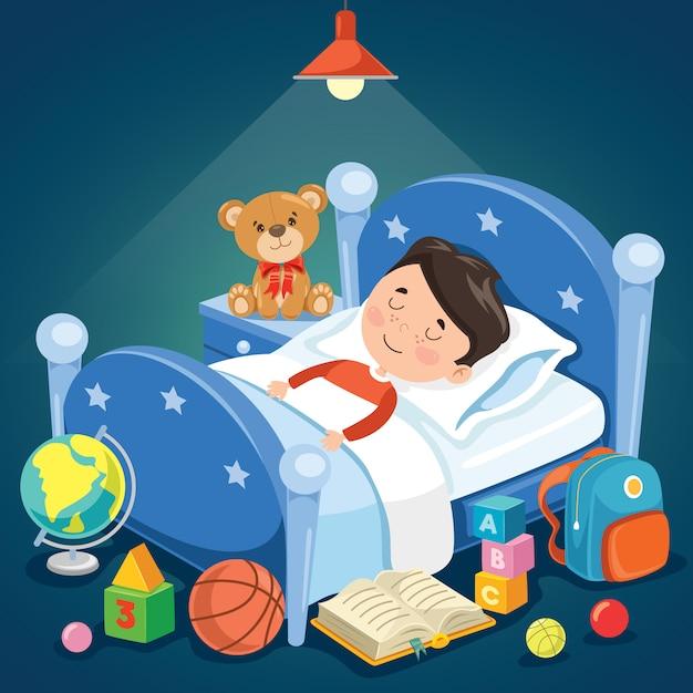 Kleines nettes kind, das am bett schläft Premium Vektoren