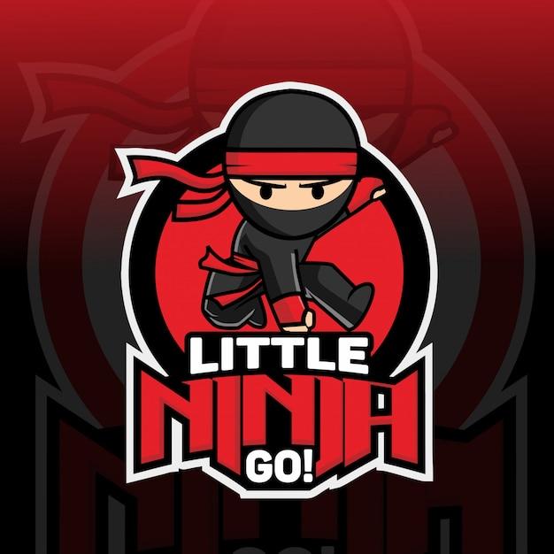 Kleines ninja maskottchen logo design Premium Vektoren