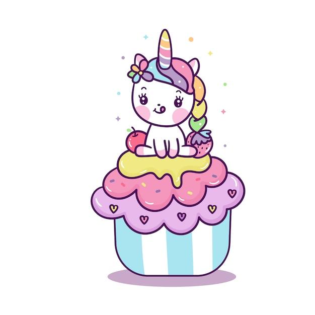 Kleines pony des netten einhornvektors auf karikatur des kleinen kuchens Premium Vektoren