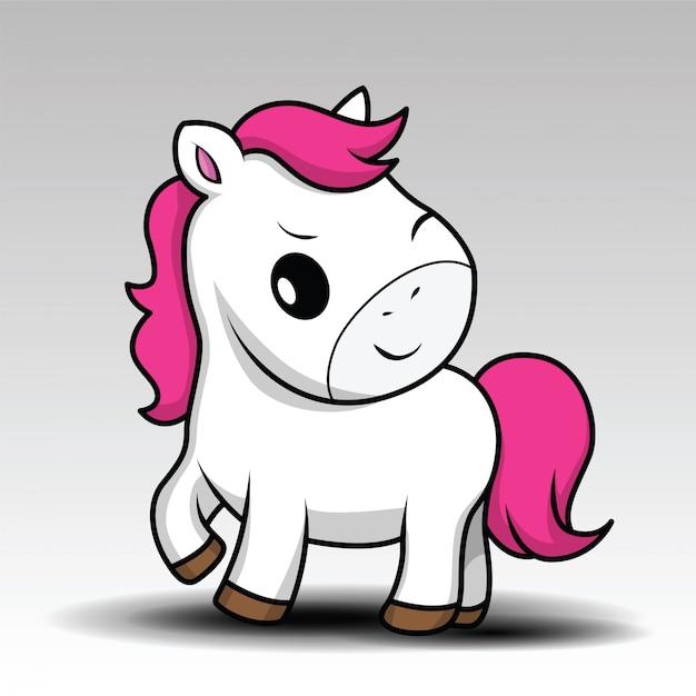 Kleines weißes schätzchenpferd der netten karikatur mit dem rosa haar Premium Vektoren
