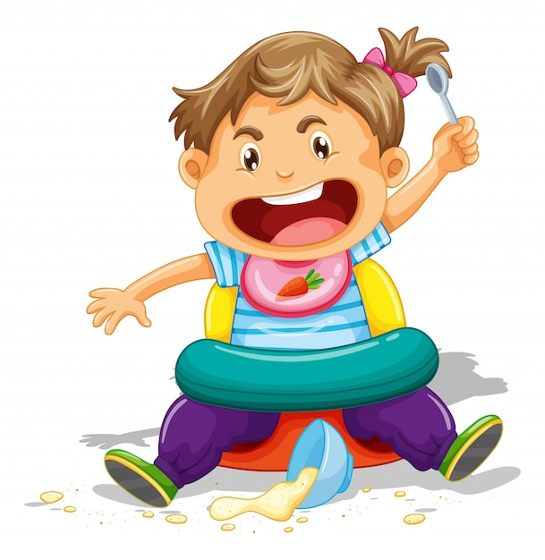 Kleinkind, das verwirrung isst und macht Kostenlosen Vektoren