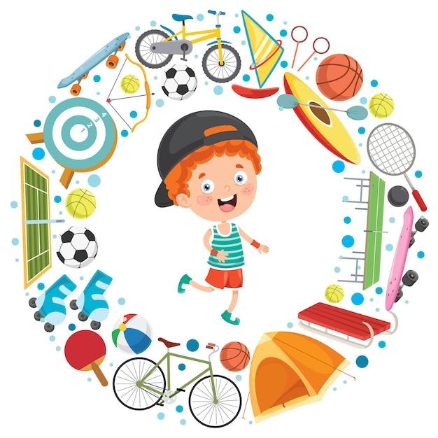 Kleinkind- und sportausrüstungen Premium Vektoren