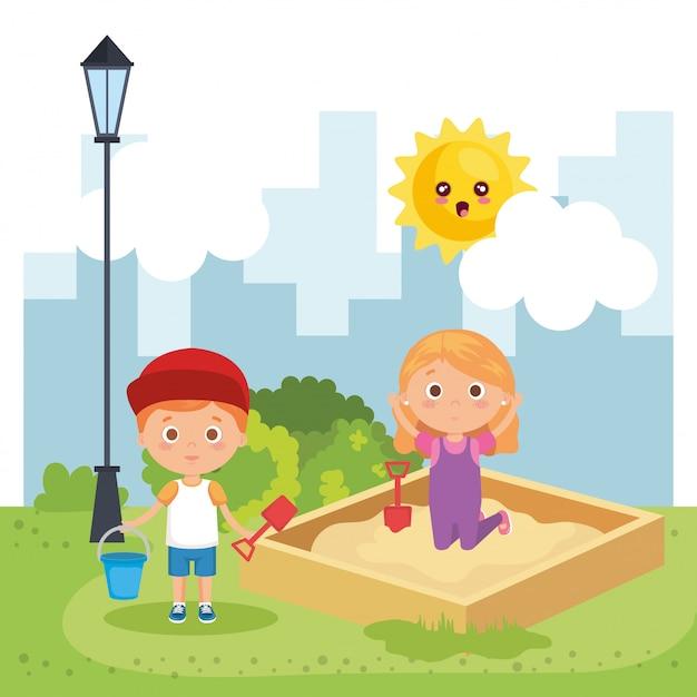 Kleinkindpaare, die auf dem park spielen Kostenlosen Vektoren