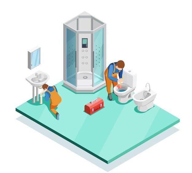 Klempner im modernen badezimmer-isometrischen bild Kostenlosen Vektoren