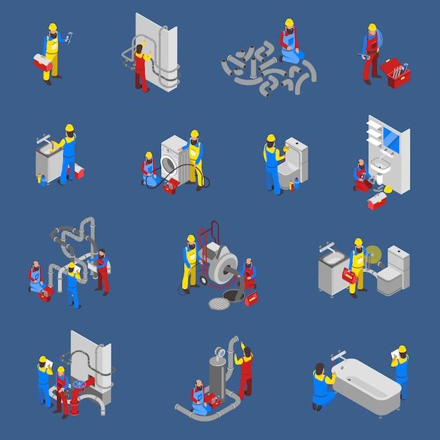 Klempner isometrische menschen icon set Kostenlosen Vektoren