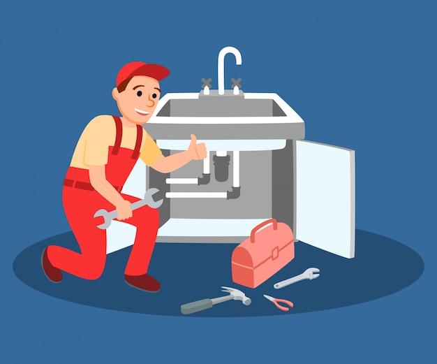 Klempner-meister mit dem schlüssel, der küchenhahn befestigt Premium Vektoren