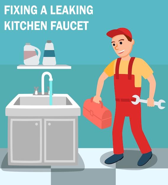Klempner mit werkzeugkastenschlüssel im kücheninnenraum Premium Vektoren