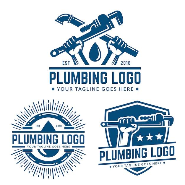 Klempnerarbeit logo vorlage Premium Vektoren