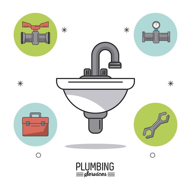 Klempnerarbeiten mit waschbecken in nahaufnahme und sanitär-symbole herum Premium Vektoren