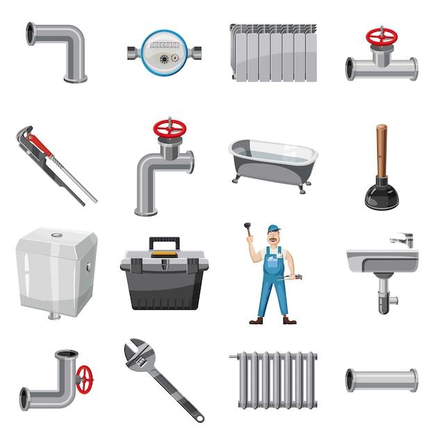 Klempnerartikelikonen eingestellt. karikaturillustration von klempnereinzelteilen vector ikonen für netz Premium Vektoren