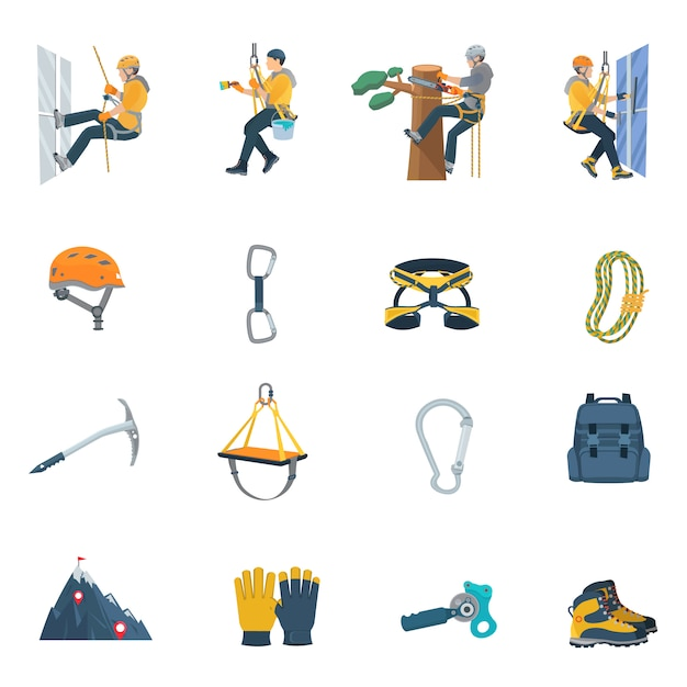 Kletterausrüstung eingestellt Kostenlosen Vektoren