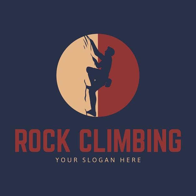Klettern logo vorlage mit kletterer silhouette und kreis Premium Vektoren
