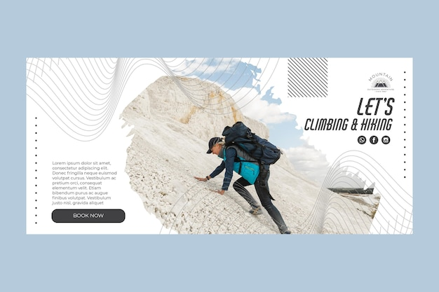 Kletternde horizontale bannerschablone mit foto Kostenlosen Vektoren