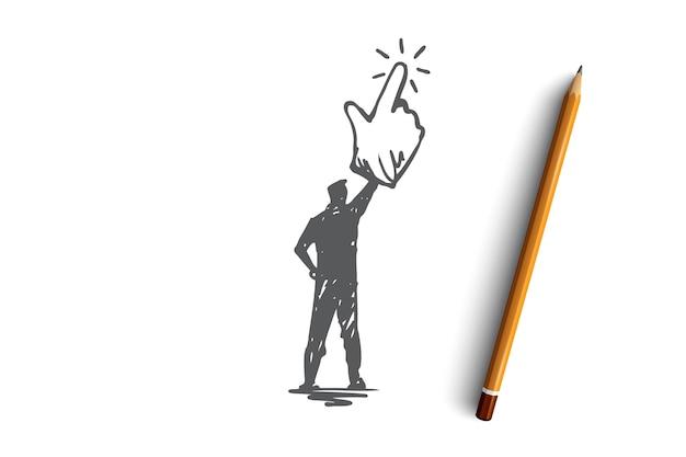 Klicken sie hier, finger, mann, push-konzept. hand gezeichnete mannauswahl, klicken durch mauskonzeptskizze. Premium Vektoren
