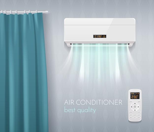 Klimaregelungsplakat mit realistischer illustration der klimaanlagentechnologiesymbole Kostenlosen Vektoren