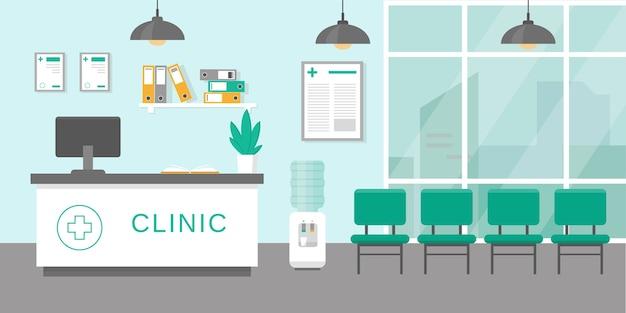 Klinik-rektektionsraum oder krankenhaus-holl-interieur mit stil. medizin-konzept. illustration. Premium Vektoren