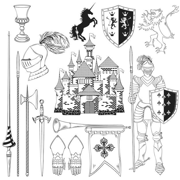 Knight monochrome icons set Kostenlosen Vektoren