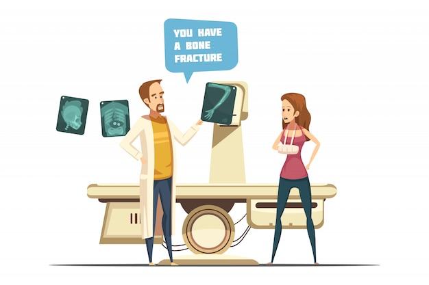 Knochenbruchdesign einschließlich doktor mit röntgenstrahlpatienten mit dem arm in der gipskarikaturretrostil Kostenlosen Vektoren
