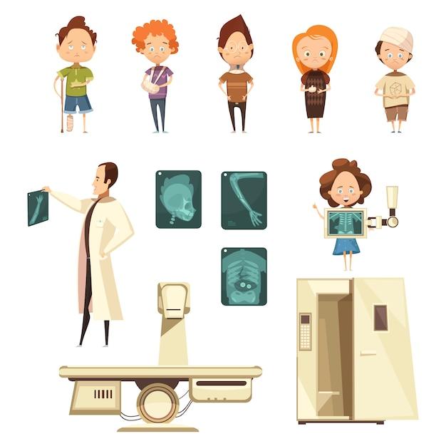 Knochenverletzung-röntgenstrahl-karikatur-ikonen-sammlung Kostenlosen Vektoren