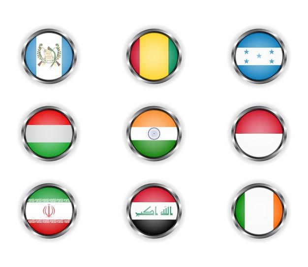 Knöpfe mit dem metallischen rahmen der landesflaggen. Premium Vektoren