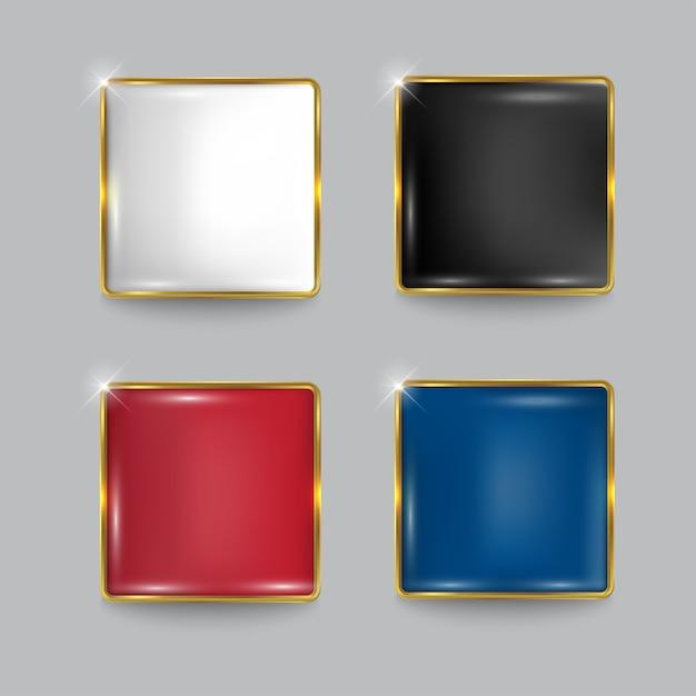 Knopf gesetztes quadratisches netz glänzend gold Premium Vektoren