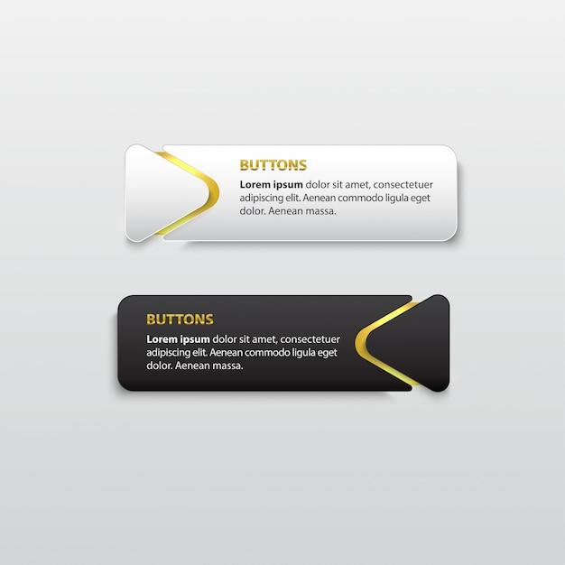 Knopf premium glänzendes schwarz-weiß-gold Premium Vektoren