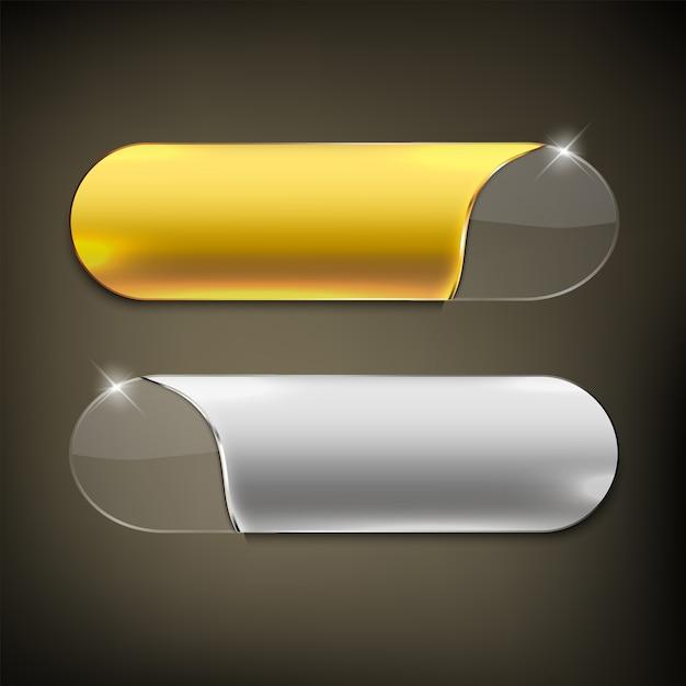 Knopffarbe gold und silber glänzend Premium Vektoren