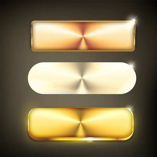 Knopfset farbe gold glänzend Premium Vektoren