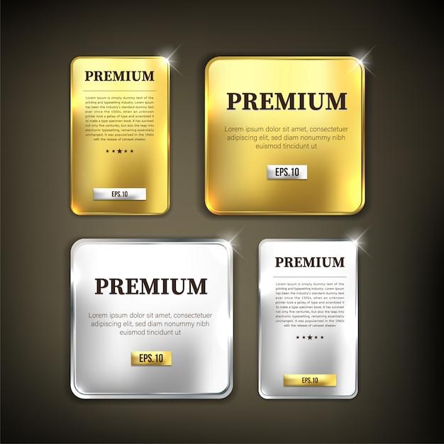 Knopfset premium gold und silber Premium Vektoren