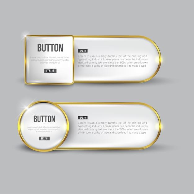 Knopfset web glänzend schwarz gold Premium Vektoren