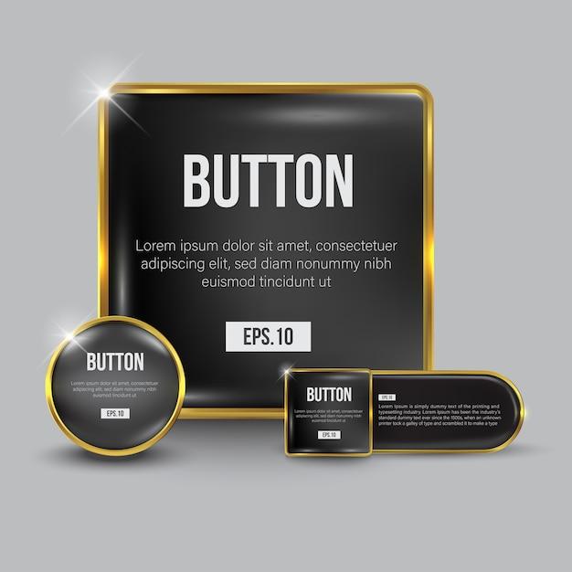 Knopfset web glänzendes weißgold Premium Vektoren