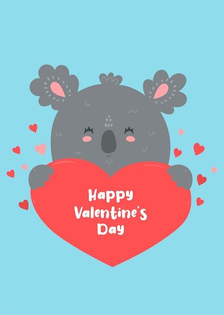 Koala hält ein herz. valentinstagskarte. Premium Vektoren