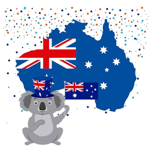 Koala mit australischer flagge und konfetti Kostenlosen Vektoren