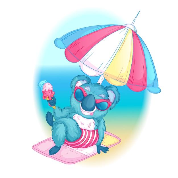 Koala mit sonnenbrille sitzt mit eis am strand. Premium Vektoren
