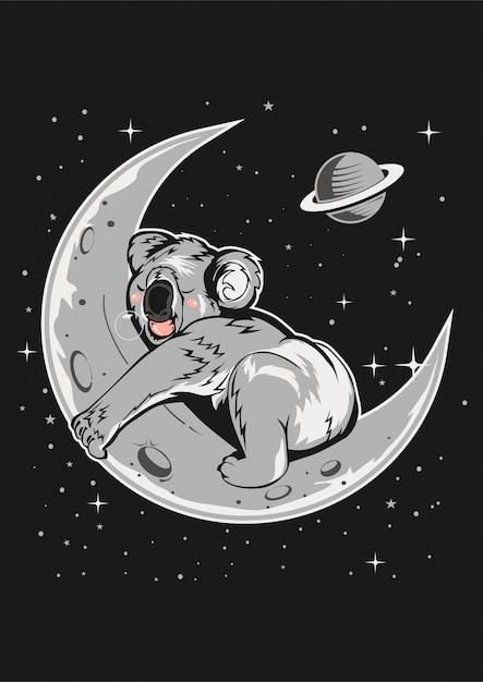 Koala schlaf im mond Premium Vektoren