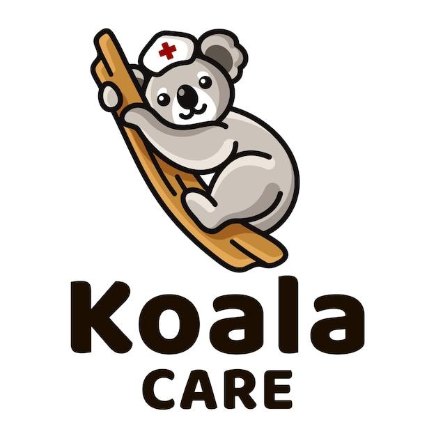Koala-sorgfalt-nette kinderlogo-schablone Premium Vektoren