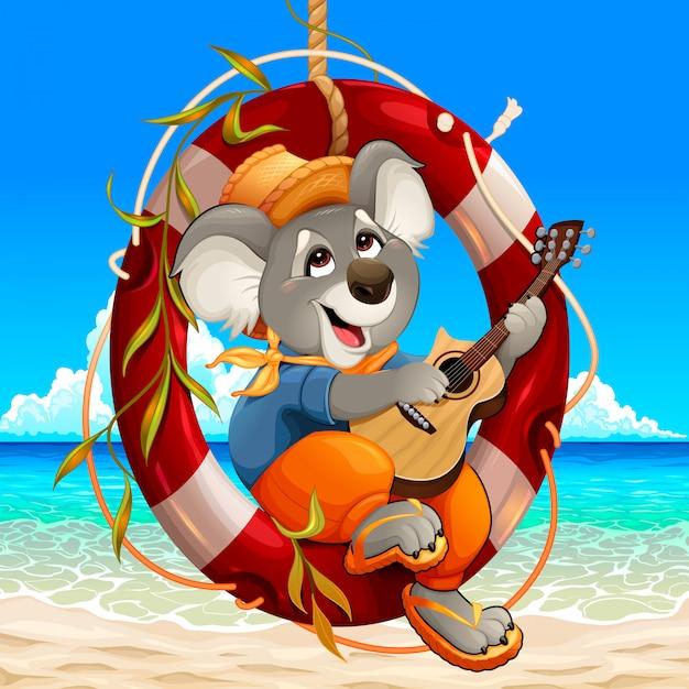 Koala spielt gitarre am strand Premium Vektoren