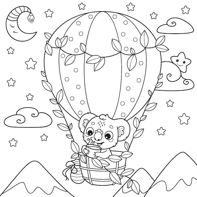 Koala trinkt tee und fliegt in einem heißluftballon malvorlagen Premium Vektoren