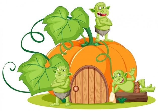 Kobold oder troll mit kürbishaus im karikaturstil lokalisiert Kostenlosen Vektoren