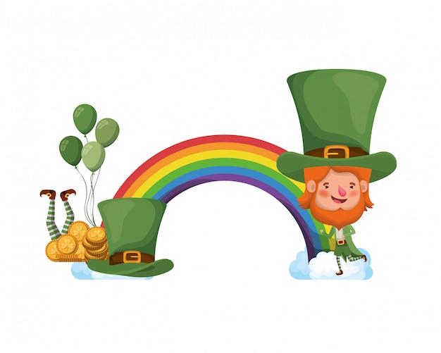 Kobolde mit regenbogen-avatar-charakter Premium Vektoren