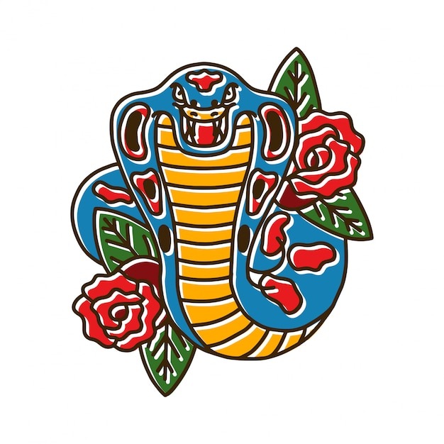 Kobra-schlange mit rose Premium Vektoren