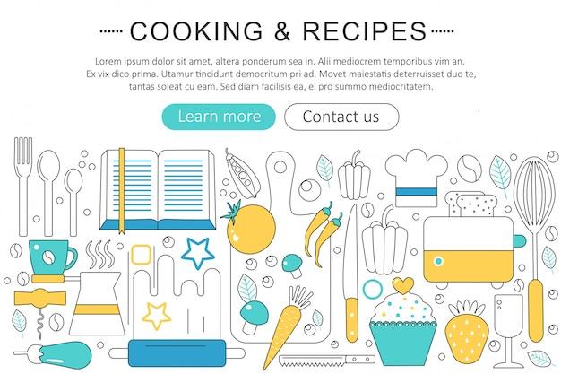 Koch- und küchenrezeptkonzept Premium Vektoren
