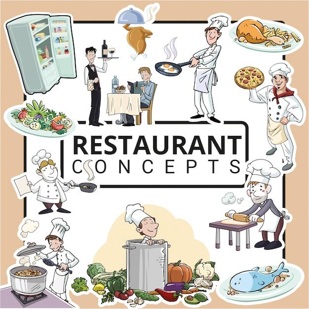 Koch- und restaurantkonzepte Premium Vektoren