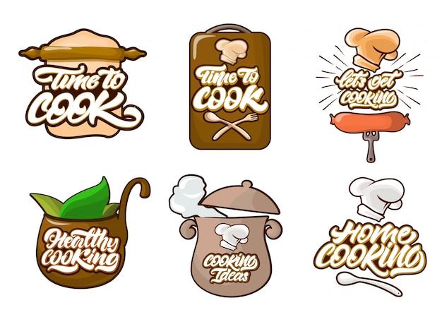 Kochen der farblogos eingestellt in karikaturart Premium Vektoren