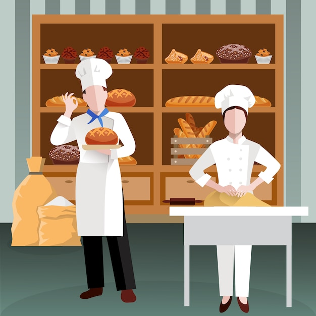 Kochen der leute-flachen zusammensetzung Kostenlosen Vektoren