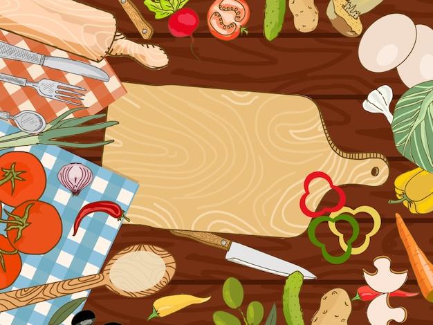 Kochen des küchentischhintergrundes Premium Vektoren