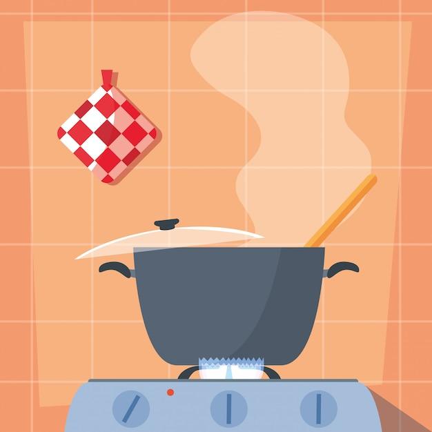 Kochen mit küchentopf im herd Premium Vektoren