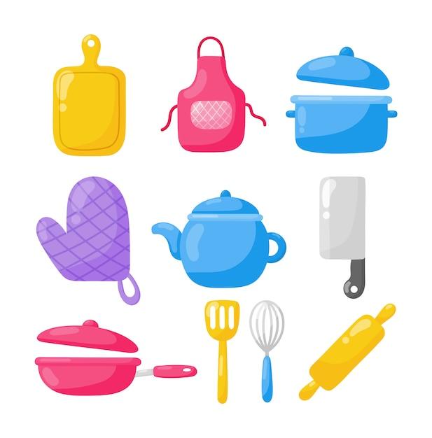 Kochen von lebensmitteln und küche gliederung bunte symbole festgelegt Premium Vektoren