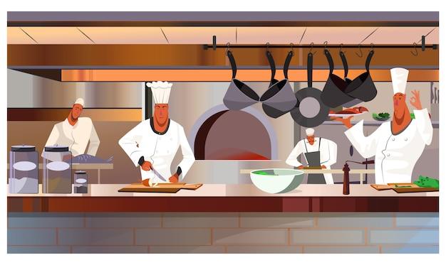 Köche, die an der restaurantküchenillustration arbeiten Kostenlosen Vektoren